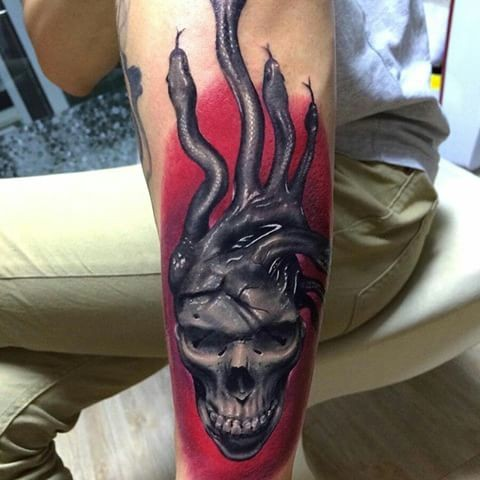 New school style colored arm tattoo of Medusa skull with snakes