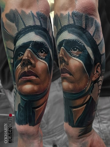 New school style colored arm tattoo of tribal human with mask