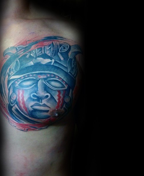 New school style colored arm tattoo of stone statue