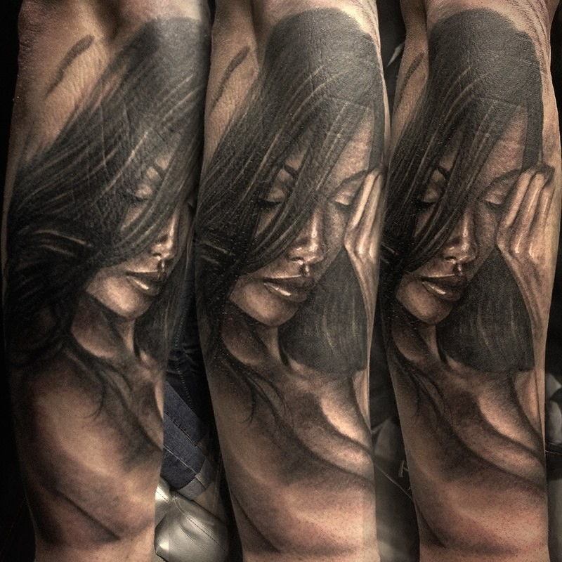 New school style colored arm tattoo of sexy naked woman