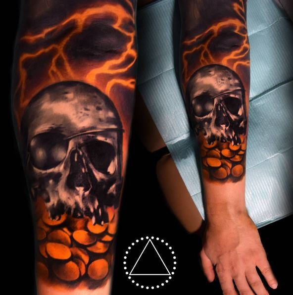 New school style colored arm tattoo of fantasy human skull with golden coins