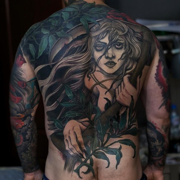 New school style colored back tattoo of woman flowers