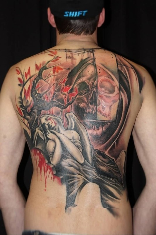 New school style colored back tattoo of stone angel with skeleton and blooming tree