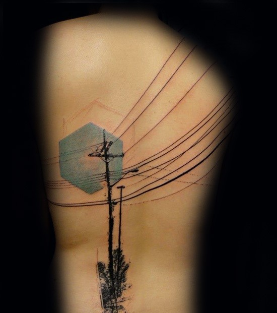 New school style colored back tattoo of city lines with trees