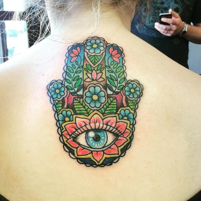 New school style colored back tattoo of Hamsa symbol stylized with flowers