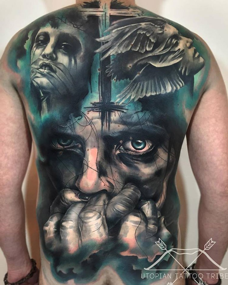 New school style colored back tattoo of creepy portraits with cross
