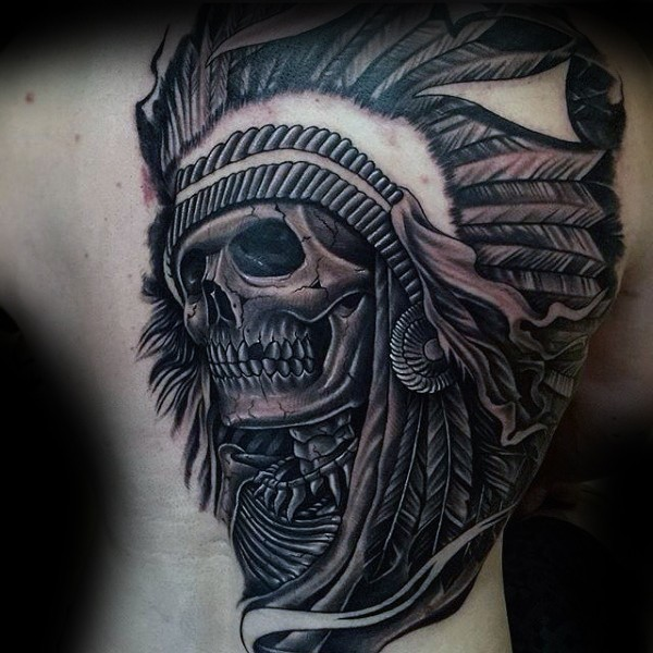 New school style colored back tattoo of ancient Indian skull