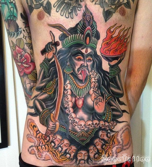 New school style colored belly tattoo of evil Hinduism Goddess