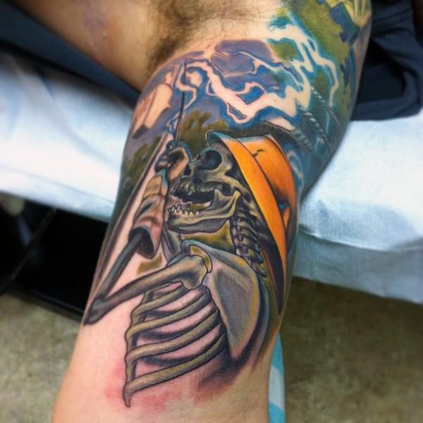 New school style colored biceps tattoo of lineman skeleton