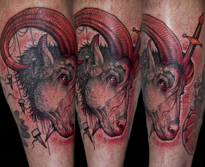 New school style colored bloody goat with sword tattoo