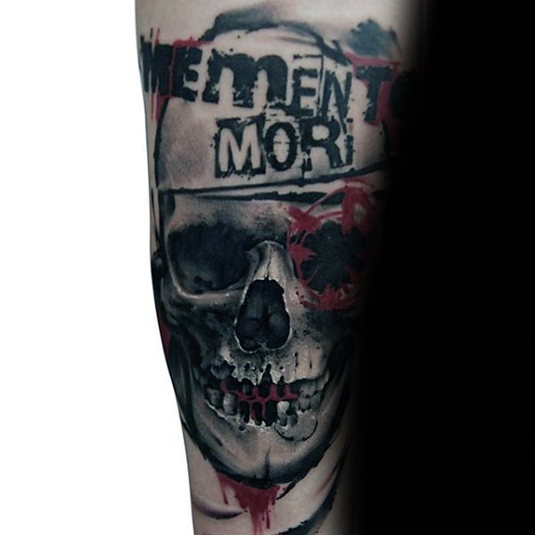 New school style colored bloody skull with lettering