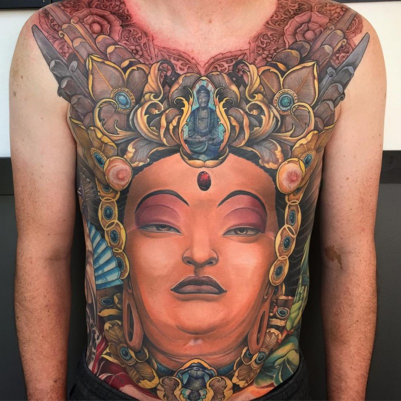 New school style colored chest and belly tattoo of gorgeous Buddha statue with ornaments