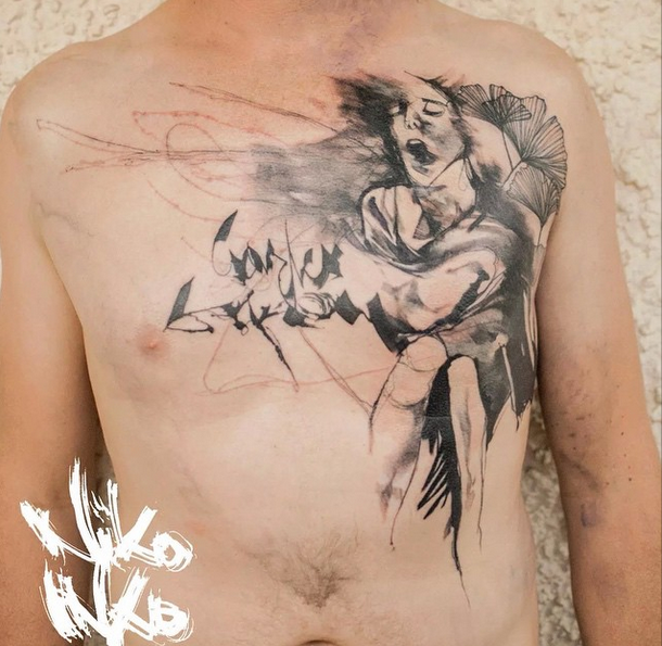 New school style colored chest tattoo of creepy person for Color chest tattoos