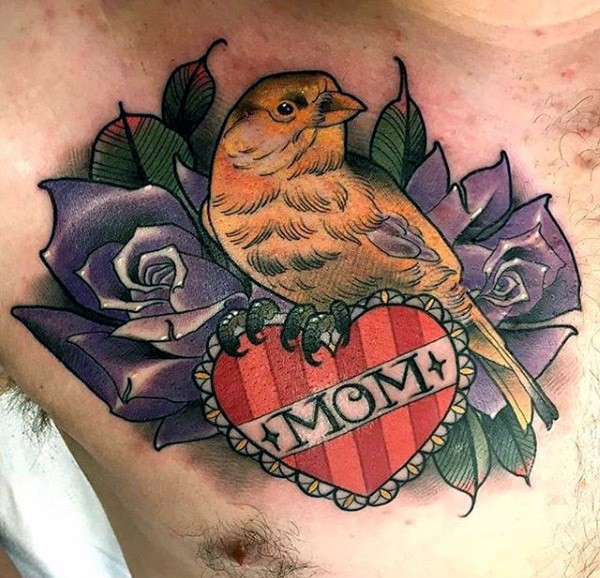 New school style colored chest tattoo of small bird with roses and heart