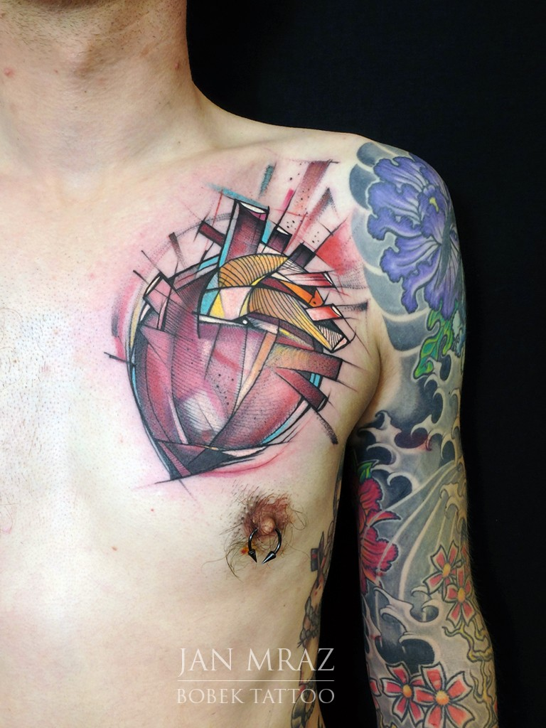 New school style colored chest tattoo of abstract human heart