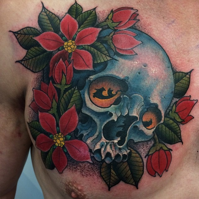 New school style colored chest tattoo of human skull and flowers