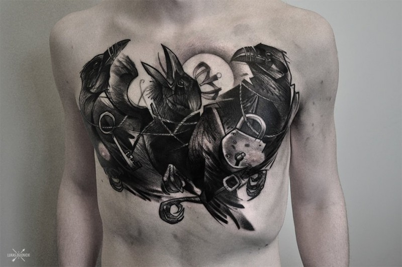 New school style colored chest tattoo of crow with lock