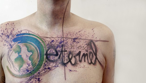 New school style colored chest tattoo of original looking lettering