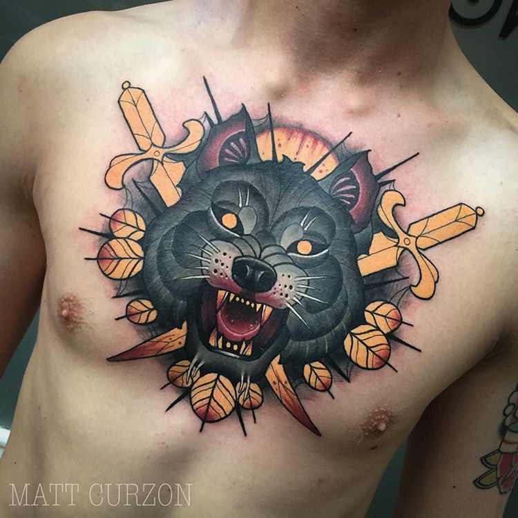 New school style colored chest tattoo of wolf with crossed for Color chest tattoos