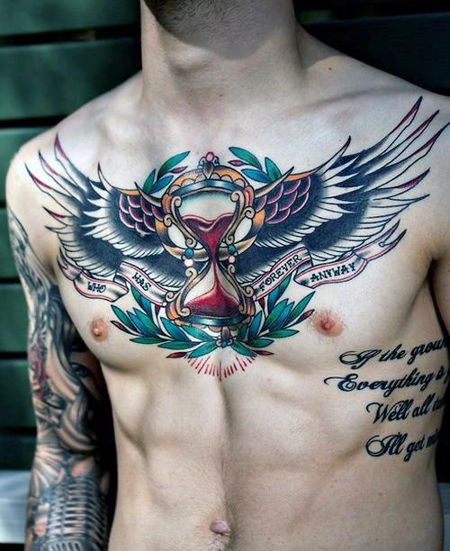 Neue Schule Stil Farbiges Brust Tattoo Von Sanduhr Mit Flügeln