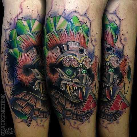 New school style colored demonic monster tattoo on arm