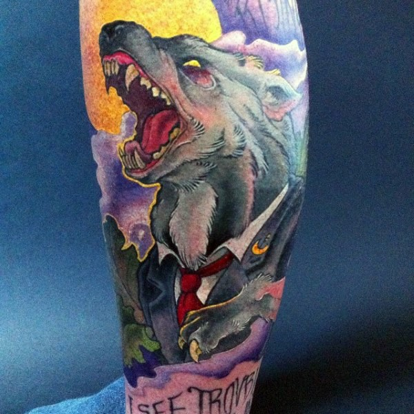 New school style colored demonic wolf in suit tattoo on leg