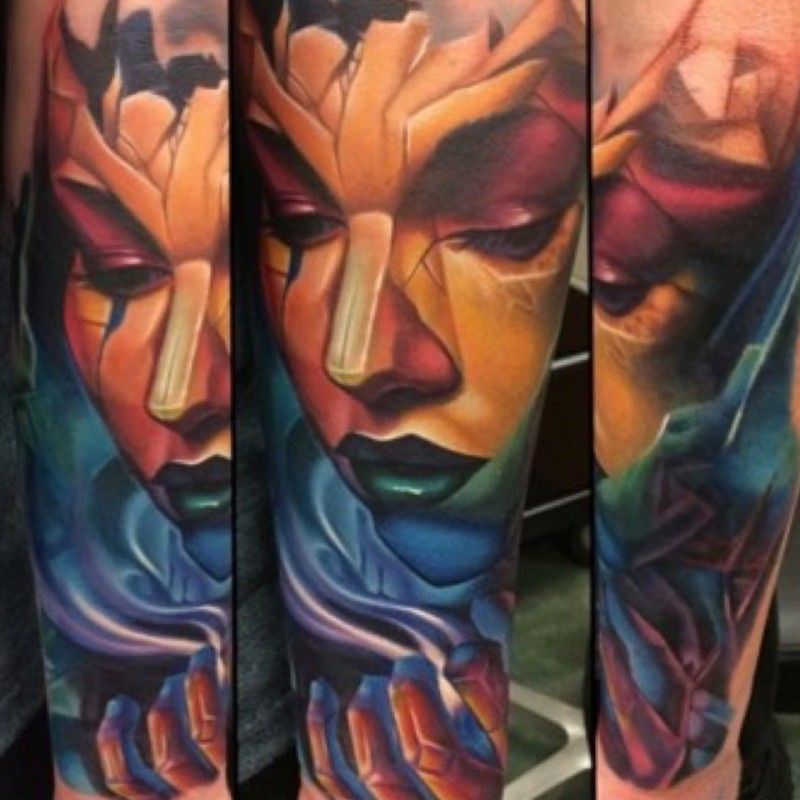 New school style colored demonic woman tattoo on forearm