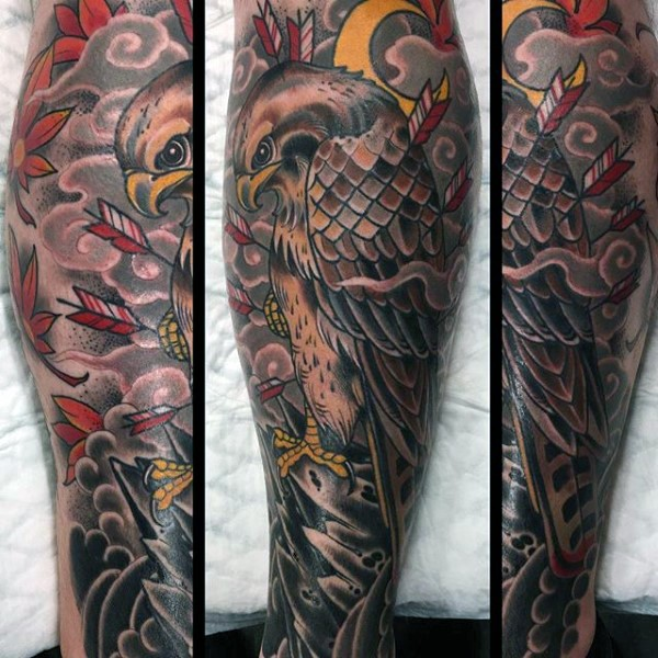 New school style colored eagle with arrows tattoo on leg