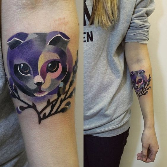 New school style colored for girls tattoo of cat on forearm