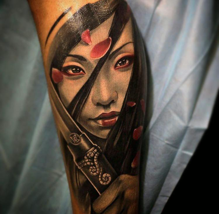 48071f980 New school style colored forearm tattoo of beautiful geisha with sword