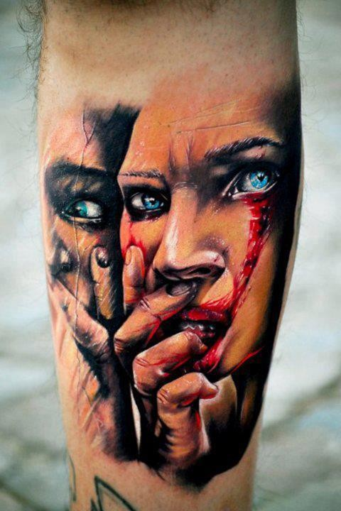 New school style colored forearm tattoo of creepy woman portrait with bloody tears