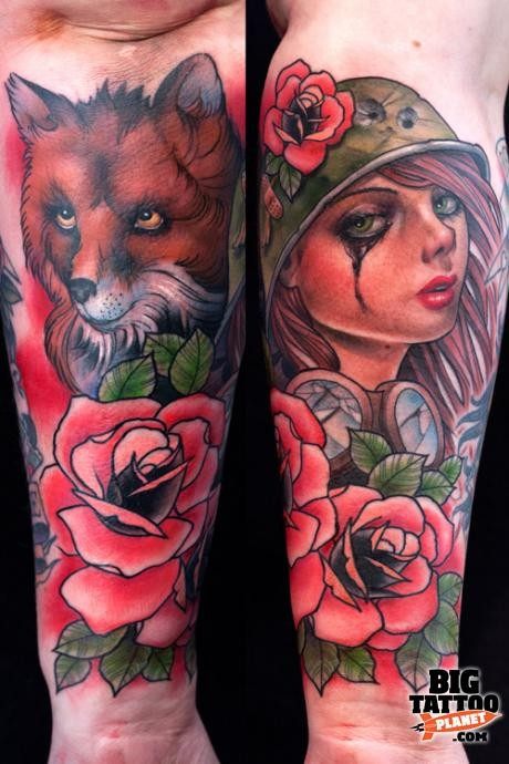 New school style colored forearm tattoo of woman portrait with fox and flowers