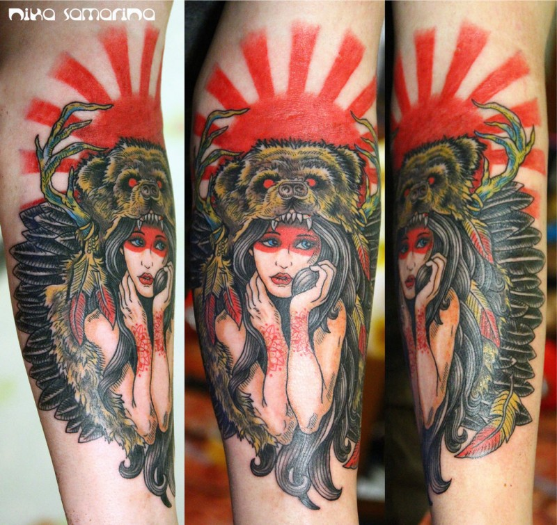 New school style colored forearm tattoo of woman with demonic bear helmet