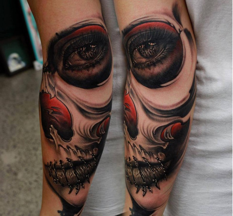 New school style colored forearm tattoo of woman portrait