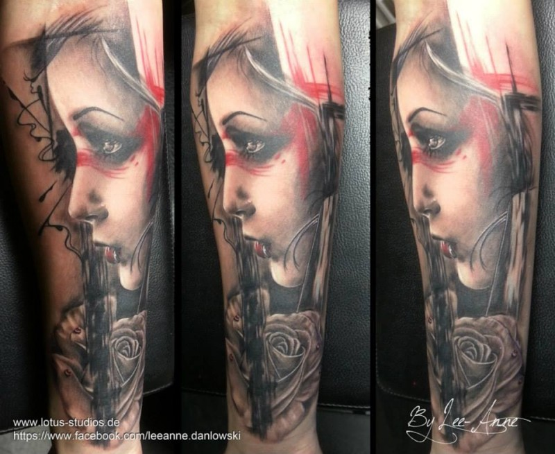 New school style colored forearm tattoo of woman portrait with rose
