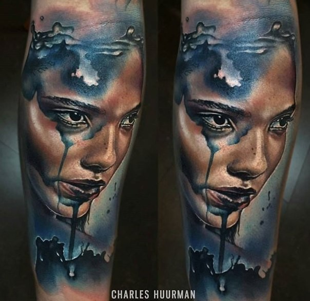 New school style colored forearm tattoo of mystical woman portrait