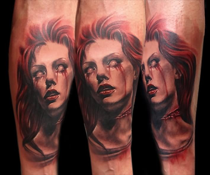 New school style colored forearm tattoo of crying bloody tears demonic woman portrait