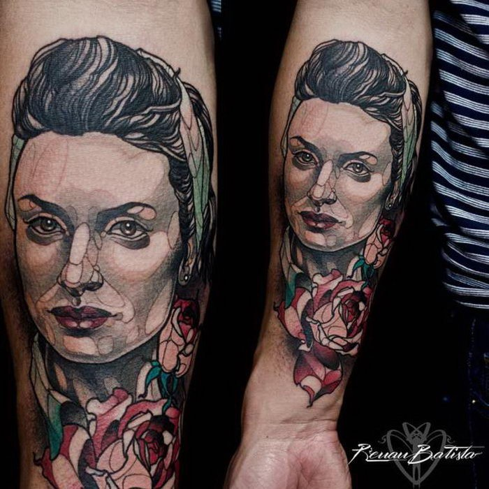 New school style colored forearm tattoo of woman portrait with flower