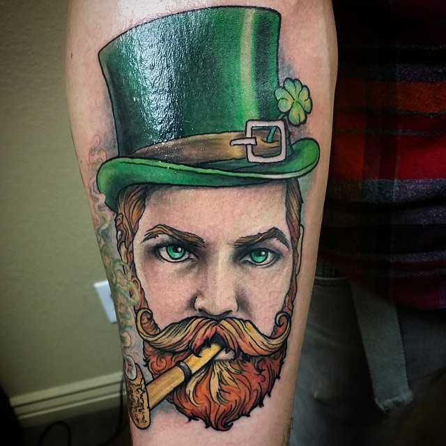 New school style colored forearm tattoo of smoking man with beard