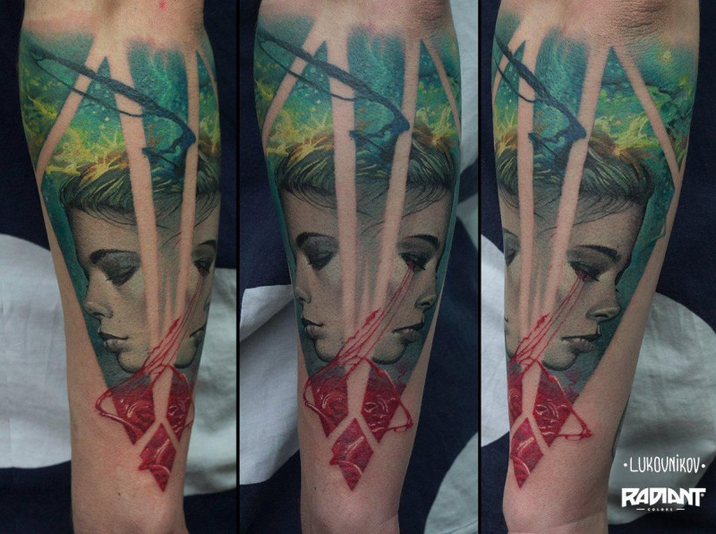 New school style colored forearm tattoo of underwater woman