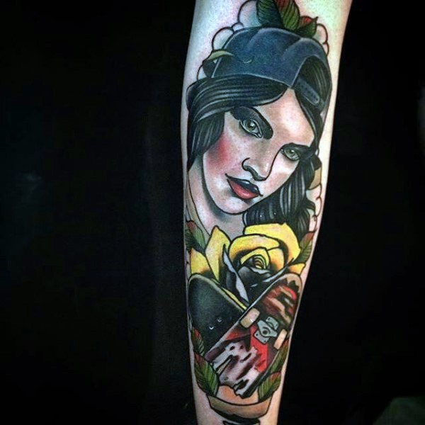 New school style colored forearm tattoo of woman with skateboard and flowers