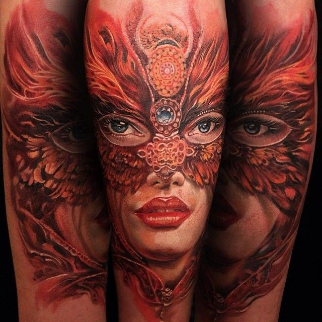 New school style colored forearm tattoo of woman with mask