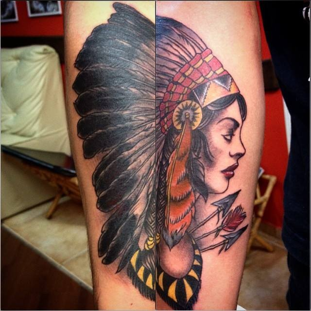 New school style colored forearm tattoo of Indian woman with arrows