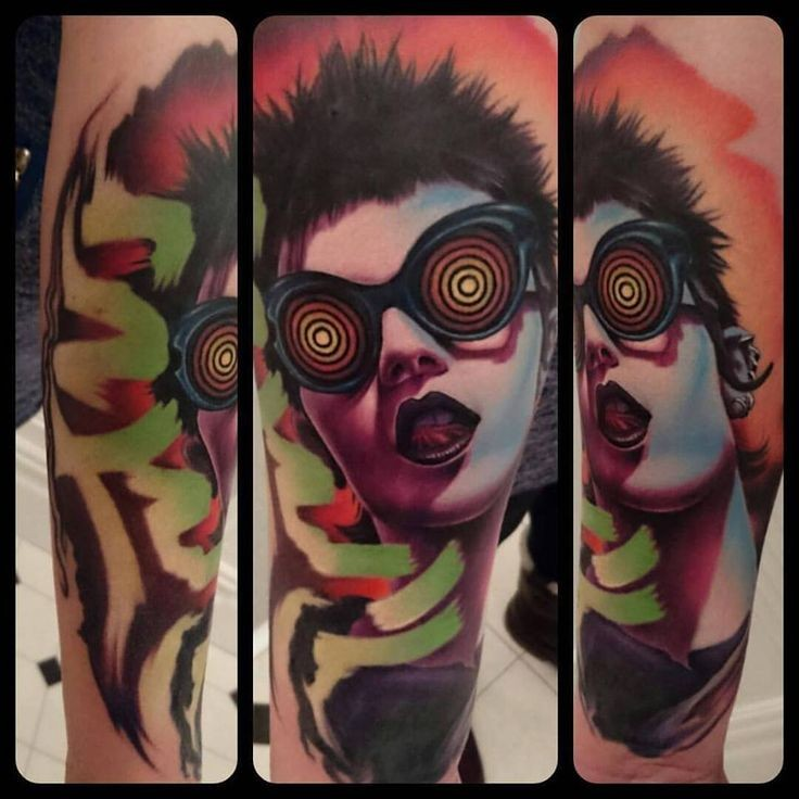 New school style colored forearm tattoo of thug woman with cool glasses