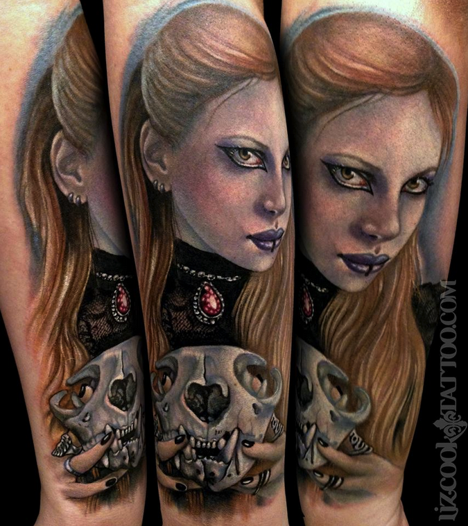 New school style colored Gothic woman portrait with animal skull