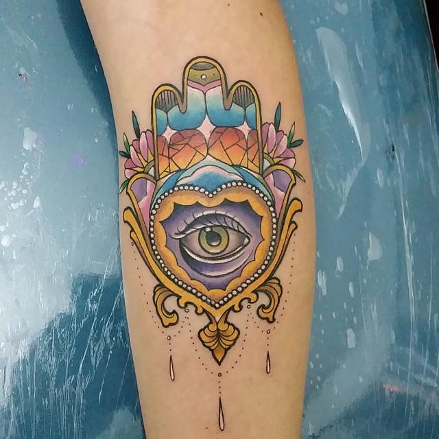 New school style colored Hamsa symbol with eye