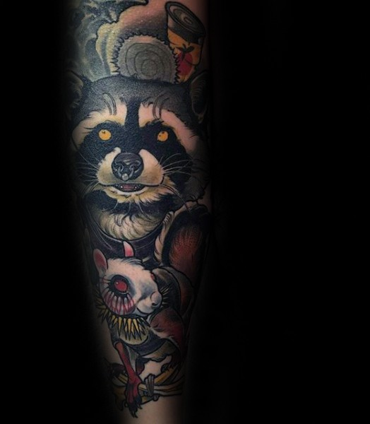 New school style colored hand tattoo of raccoon with with mouse