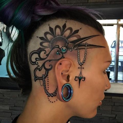 New school style colored head tattoo of fantasy scissors and jewelry