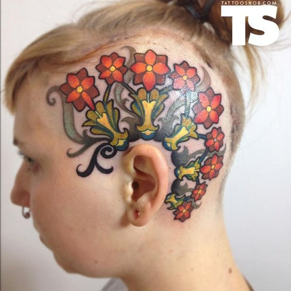 New school style colored head tattoo of beautiful flowers