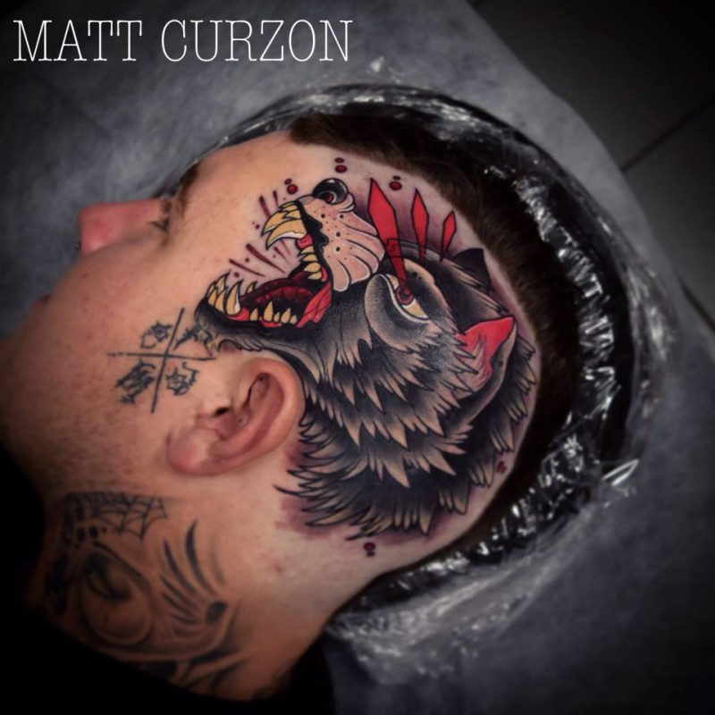 New school style colored head tattoo of demonic wolf head